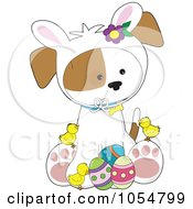 Royalty Free Vector Clip Art Illustration Of A Cute Easter Puppy With Bunny Ears Chicks And Eggs by Maria Bell