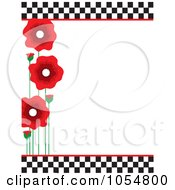 Border Of Red Poppies And Black And White Checkers