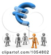 Royalty Free CGI Clip Art Illustration Of A 3d Orange Businessman Holding Euro Shaped Ballon While Gray Men Look Up