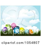 Royalty Free Vector Clip Art Illustration Of A Background Of Patterned Easter Eggs In Grass