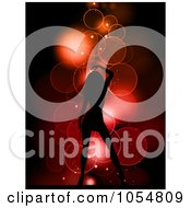 Royalty Free Vector Clip Art Illustration Of A Sexy Silhouetted Woman Over Bubbles On Red by KJ Pargeter