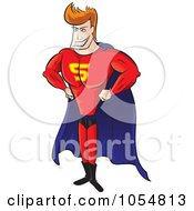 Royalty Free Vector Clip Art Illustration Of A Strong Super Hero Man Standing In A Blue Cape