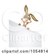 Winking Rabbit Over A Corner Easter Sign