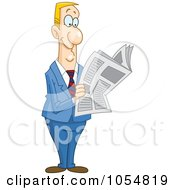 Royalty Free Vector Clip Art Illustration Of A Happy Businessman Reading A News Paper