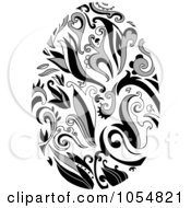 Royalty Free Vector Clip Art Illustration Of A Grayscale Floral Easter Egg by yayayoyo