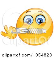 Royalty Free Vector Clip Art Illustration Of An Emoticon Zipping His Mouth by yayayoyo