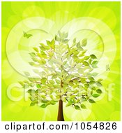 Royalty Free Vector Clip Art Illustration Of Butterflies And A Summer Tree Over Green