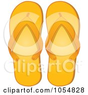 Royalty Free Vector Clip Art Illustration Of A Pair Of Orange Flip Flops by elaineitalia