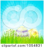 Royalty Free Vector Clip Art Illustration Of Three Easter Eggs In Grass