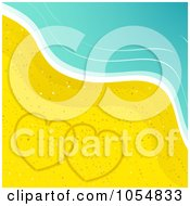 Royalty Free Vector Clip Art Illustration Of Two Hearts Drawn In The Sand On A Beach