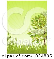 Royalty Free Vector Clip Art Illustration Of A Summer Tree With Grasses And Ferns Over Green