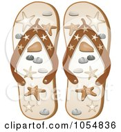 Royalty Free Vector Clip Art Illustration Of A Pair Of Starfish Flip Flops by elaineitalia