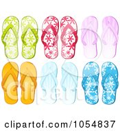 Royalty Free Vector Clip Art Illustration Of A Digital Collage Of Six Pairs Of Flip Flops by elaineitalia