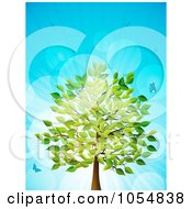 Royalty Free Vector Clip Art Illustration Of A Summer Tree With Birds And Butterflies Over Blue