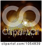 Royalty Free Vector Clip Art Illustration Of A Silhouetted Party Crowd And A Gold Disco Ball