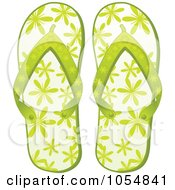 Royalty Free Vector Clip Art Illustration Of A Pair Of Green Floral Flip Flops by elaineitalia