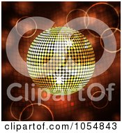 Royalty Free Vector Clip Art Illustration Of A Gold Disco Ball On A Bubble Mosaic Background