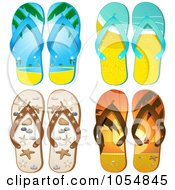Royalty Free Vector Clip Art Illustration Of A Digital Collage Of Four Pairs Of Flip Flops by elaineitalia