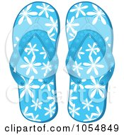 Royalty Free Vector Clip Art Illustration Of A Pair Of Blue Floral Flip Flops by elaineitalia