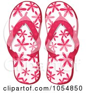 Royalty Free Vector Clip Art Illustration Of A Pair Of Pink Floral Flip Flops by elaineitalia