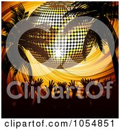 Royalty Free Vector Clip Art Illustration Of A Silhouetted Party Crowd Under Palm Trees And A Gold Disco Ball