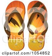 Royalty Free Vector Clip Art Illustration Of A Pair Of A Sunset Tropical Beach Flip Flops by elaineitalia