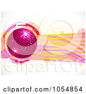 Royalty Free Vector Clip Art Illustration Of A Pink Disco Ball Over Lines And Bubbles