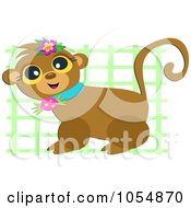 Royalty Free Vector Clip Art Illustration Of A Cute Monkey Against Green Lattive