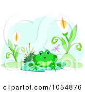 Frog By Lilies On A Pond Over Blue