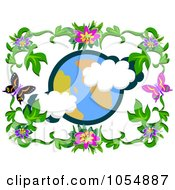 Royalty Free Vector Clip Art Illustration Of A Globe Framed With Hibiscus Flowers And Butterflies