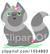Royalty Free Vector Clip Art Illustration Of A Gray Cat With Flowers