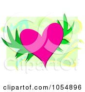 Floral Heart On Green