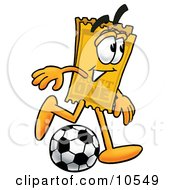 Clipart Picture Of A Yellow Admission Ticket Mascot Cartoon Character Kicking A Soccer Ball