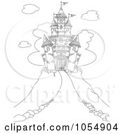 Coloring Page Outline Of A Castle On A Hill