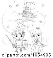 Royalty Free Vector Clip Art Illustration Of A Coloring Page Outline Of A Knight And Princess by Pushkin