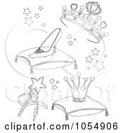 Digital Collage Of Coloring Page Outlines Of Princess Items