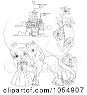 Coloring Page Outline Of A Princess And Pony By A Castle