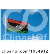 Royalty Free Clip Art Illustration Of A 3d Flag Of Libya Waving Against A Blue Sky by stockillustrations