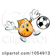 Royalty Free Vector Clip Art Illustration Of An Orange Blinky Soccer Player by MilsiArt