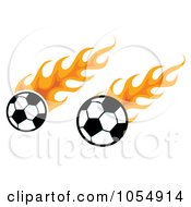 Royalty Free Vector Clip Art Illustration Of Flaming Soccer Balls by MilsiArt