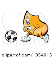 Royalty Free Vector Clip Art Illustration Of An Orange Blinky Playing Soccer by MilsiArt