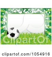 Royalty Free Vector Clip Art Illustration Of A Soccer Ball Grass And Star Frame