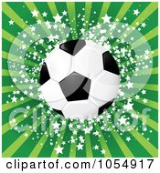 Royalty Free Vector Clip Art Illustration Of A Soccer Ball Against Green Rays And Stars by MilsiArt