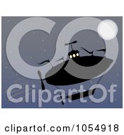Royalty Free Vector Clip Art Illustration Of A Silhouetted Airship Ascending In The Moonlit Sky
