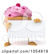 Royalty Free CGI Clip Art Illustration Of A 3d Pink Frosted Cupcake Holding A Blank Sign