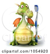 Royalty Free CGI Clip Art Illustration Of A 3d Dragon With A Toothbrush 1