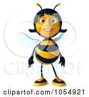 Royalty Free CGI Clip Art Illustration Of A 3d Female Bee by Julos