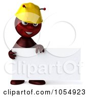 Royalty Free CGI Clipart Illustration Of A 3d Worker Ant Holding A Blank Sign Board 1 by Julos