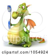 Royalty Free CGI Clip Art Illustration Of A 3d Dragon With A Toothbrush 2
