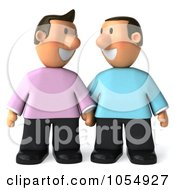 Royalty Free CGI Clip Art Illustration Of A 3d Gay Couple Standing Side By Side Holding Hands And Smiling by Julos